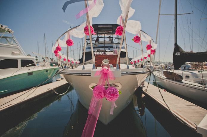 Wedding party at boats
